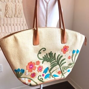 Cole Haan Floral Embroidered Straw Shoulder Purse